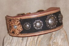 Gorgeous Custom US Made Leather Dog Collar, Floral Tooled + Conchos sz L G&E