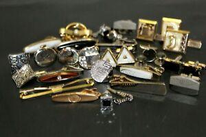 Vintage Assorted Tie Tacks & Cufflinks 30 Piece Lot Gold & Silver Costume Swank