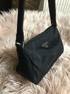 Authentic Prada Black Nylon Small Baguette Shoulder Bag