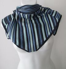 Vintage Small Striped Neck Silk Scarf  (7979x)
