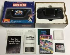 Sega Game Gear Complete In Box CIB + Inserts Sonic 2 Blue Box Bundle Rare!