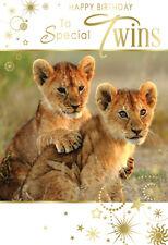 Per particolari Gemelli Cucciolo di Leone Design Buon Compleanno Carta Di Qualità Adorabile Verse