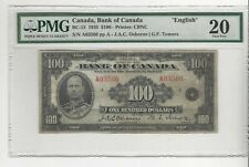 1935  Osb/Tow Canada $100 Note PMG **VF-20** SN# A03566  English BC-15