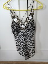 Oasis Silk Zebra Pattern Top Size 8