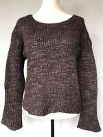 Calvin Klein Jeans Women's Jumper Size 14 Purple Wool  Blend Long Sleeves Chunky