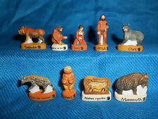 NEANDERTHAL Cave Men MAMMOTH Set 9 Mini Figurines FRENCH Porcelain FEVES Figures
