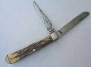 VINTAGE ANTIQUE REALLY OLD STAG BONE KABAR POCKET FOLDING POCKET KNIFE *NR*