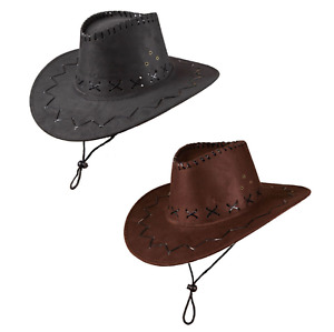 Erwachsene Wildleder Cowboy Hut Wilder Westen Kostüm Hut Zubehör Schwarz/Braune