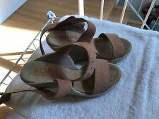 Michael Kors  Open Toe Wedge Ankle Strap Suede Platform  Sandals Sz 6M