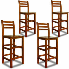 Wooden High Chairs 4 Breakfast Kitchen Tall Chair Retro Vintage Bar Stools Wood