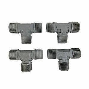 """Plastic Tee 1/2"""" x 1/2"""" x 1/2"""" MPT Compression Fittings Pack of 4 Grey NOS"""