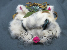 Vintage Ooak hand made Costume real fur cat mask with fabric straps