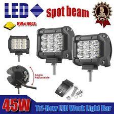 "Pair 4""INCH Tri-Row 45W Spot Led Work Light Bar Offroad 4WD ATV Jeep Truck"