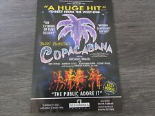 Michael Praed in Barry Manilow's Copacabana 1996 Original Alhambra Theatre Flyer