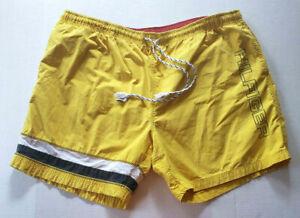 Tommy Hilfiger Swim Trunks Shorts Mens 2XL Yellow Navy Striped Lined Drawstring