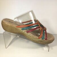 Minnetonka Rainbow Leather Sandals Low Wedge Slide Open Toe Womens Size 8