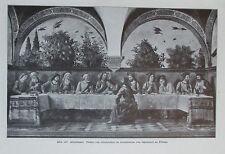 1912 Abendmahl Fresko von Ghirlandajo alter Druck antique print Litho