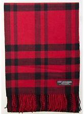 100% Cashmere Scarf Red Black Check Tartan Plaid SCOTLAND Wool Women R918