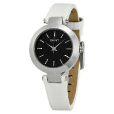 DKNY Stanhope Black Dial White Leather Ladies Watch NY2198