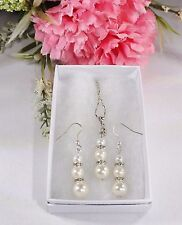 Sea Shell Pearl  6-8-10MM Necklace & Earring Set - White With Gift Box