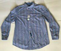 Chaps Easy Care LS Button Down Striped Blue Orange Dress Shirt Sz Large NWT