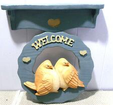 2pcs~Love BirdswShelf~Welcome~Chalk ware/Plaster Wall Plaques~1989 Miller Studios