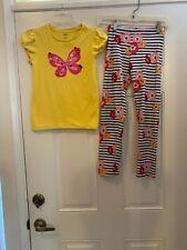 Gymboree striped flower leggings & Yellow Butterfly T Shirt Girls Size 10
