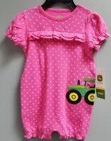windmill flower barn John Deere girls Pink one piece w///'TRACTOR GIRL/' tractor