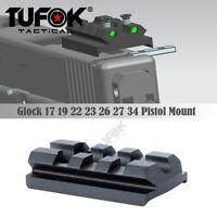 Glock Sight Mount with Luminous Sight Dot Fit Glock 17 19 22 23 26 Rail