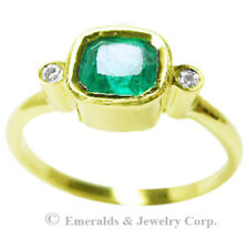 Bezel-Set Natural Emerald Diamond Accents 3-Stone Ring 14K Yellow Gold