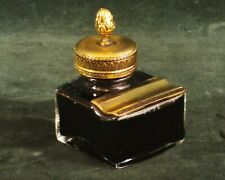 Vintage Pelikan ink bottle 70 gold plated pen rest & cap - W. Germany