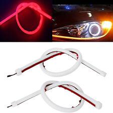 "2Pcs 18"" Red Amber LED Strip Headlights Switchback Flexible DRL Turn Signal US"