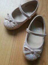 Debenhams Baby Girls Sparkly Pink Shoes Size 6 Bridesmaid Wedding