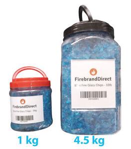 Blue Fire Glass Fire Pit Gas Fires/Ethanol/Tempered 1kg/4.5kg Firebrand Direct