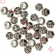 LOT 100pcs Tibetan Silver big hole Spacer Beads Round Wheel Metal Spacer Beads