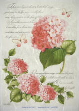 Rice Paper -  Red Hydrangea - for Decoupage Scrapbook Sheet
