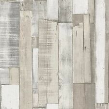 WHITE WOOD BOARD PANEL WALLPAPER - RASCH 203714 - NEW EMBOSSED