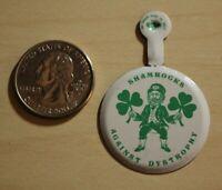 Shamrocks Against Dystrophy Foldover Tab Pinback Button #31591