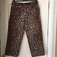 DOLCE & GABBANA Imprimé Léopard Pantalon raccourci Pantalon Capri 27 41 UK 8 10