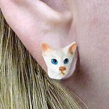 Conversation Concepts White Oriental Shorthaired Earrings Post