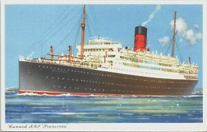 RMS FRANONIA, CUNARD LINE, KENNETH SHOESMITH, ADVERTISING - Shipping Postcard