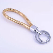 New gold color Men Leather Key Chain Ring Keyfob Car Keyring Keychain Gift