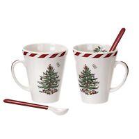SPODE CHRISTMAS TREE CANDY CANE STRIPES DESIGN TWO MUGS WITH CERAMIC SPOONS NIB