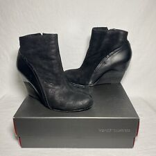 Vince Camuto Women's Hillari Black Suede Leather Wedges Ankle Boots Booties 8 M