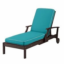 "Welted Caribbean Blue 3.5"" Thick Cushion For Outdoor Patio Chaise Lounge Chair"