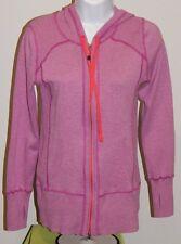 EDDIE BAUER Zip Light Magenta LS Hooded Sweatshirt w Yoga Sleeves Women's Small