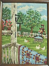 NEEDLEPOINT Back Porch & Yard - Chickens, Pump, Quilt, Picket Fence, Dinner Bell