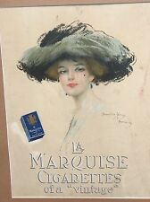 Hamilton Kings La Marquise Cigarette Paris Lithograph Advertising Print Lady Hat