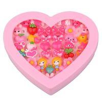 36PCS Mix Lot Assorted Flower Animals Heart Cartoon Baby Girl Children Rings Box