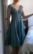 Kaliko Blue Fit Flare Dress Skater Midi V Neck Gown Off Shoulder 50/60s size 10